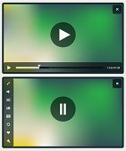 Collection of flat design media player elements and buttons on modern mesh background. 10 EPS.
