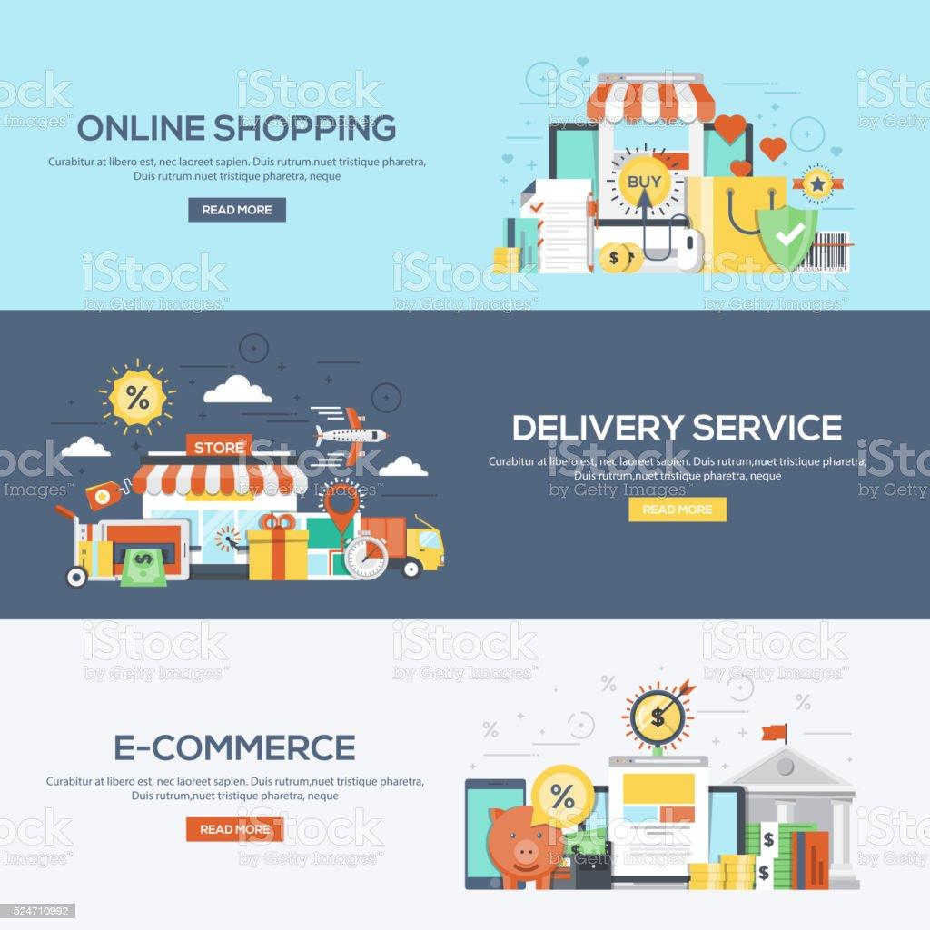 Flache Design Banner- Einkaufs- und Handelszentrum – Vektorgrafik