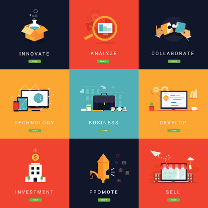 Flat Designed Business  Concepts for Innovation.