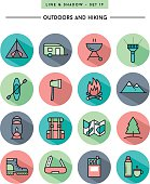 flat design,long shadow, thin line hiking and outdoors icons