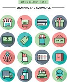 flat design,long shadow, thin line shopping and commerce icons