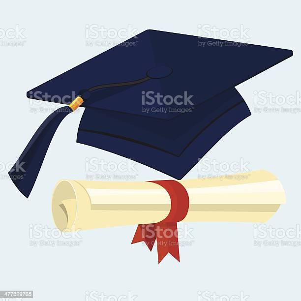 Flat Diploma And Graduation Cap Stockvectorkunst en meer beelden van Begrippen