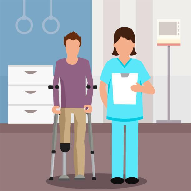 ilustraciones, imágenes clip art, dibujos animados e iconos de stock de médico plano y paciente en centro de rehabilitación - medicina del deporte