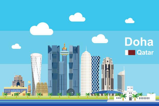 illustrations, cliparts, dessins animés et icônes de paysage urbain plat doha - doha