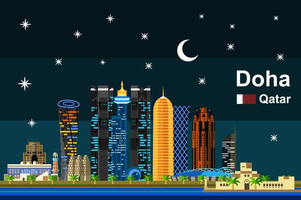 illustrations, cliparts, dessins animés et icônes de plat de doha nuit cityscape - doha