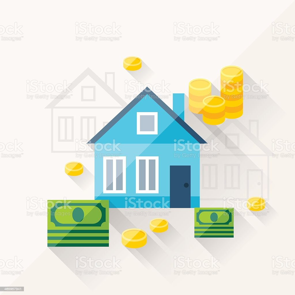 Flat drawing of houses and money vector art illustration