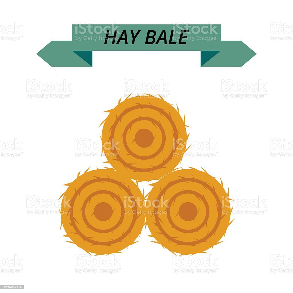 Flat dried haystack isolated on white background. Farming haymow bale vector art illustration