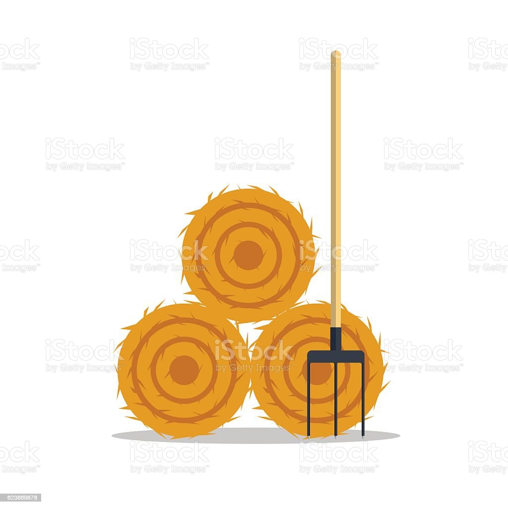 Flat dried haystack with hayfork isolated on whit background. Farming vector art illustration