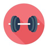 Flat & Long Shadow Dumbbell Icon
