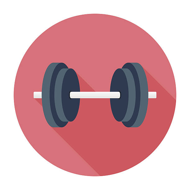 Flat Dumbbell Icon vector art illustration