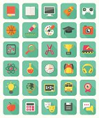 Flat Education and Leisure Icons Set