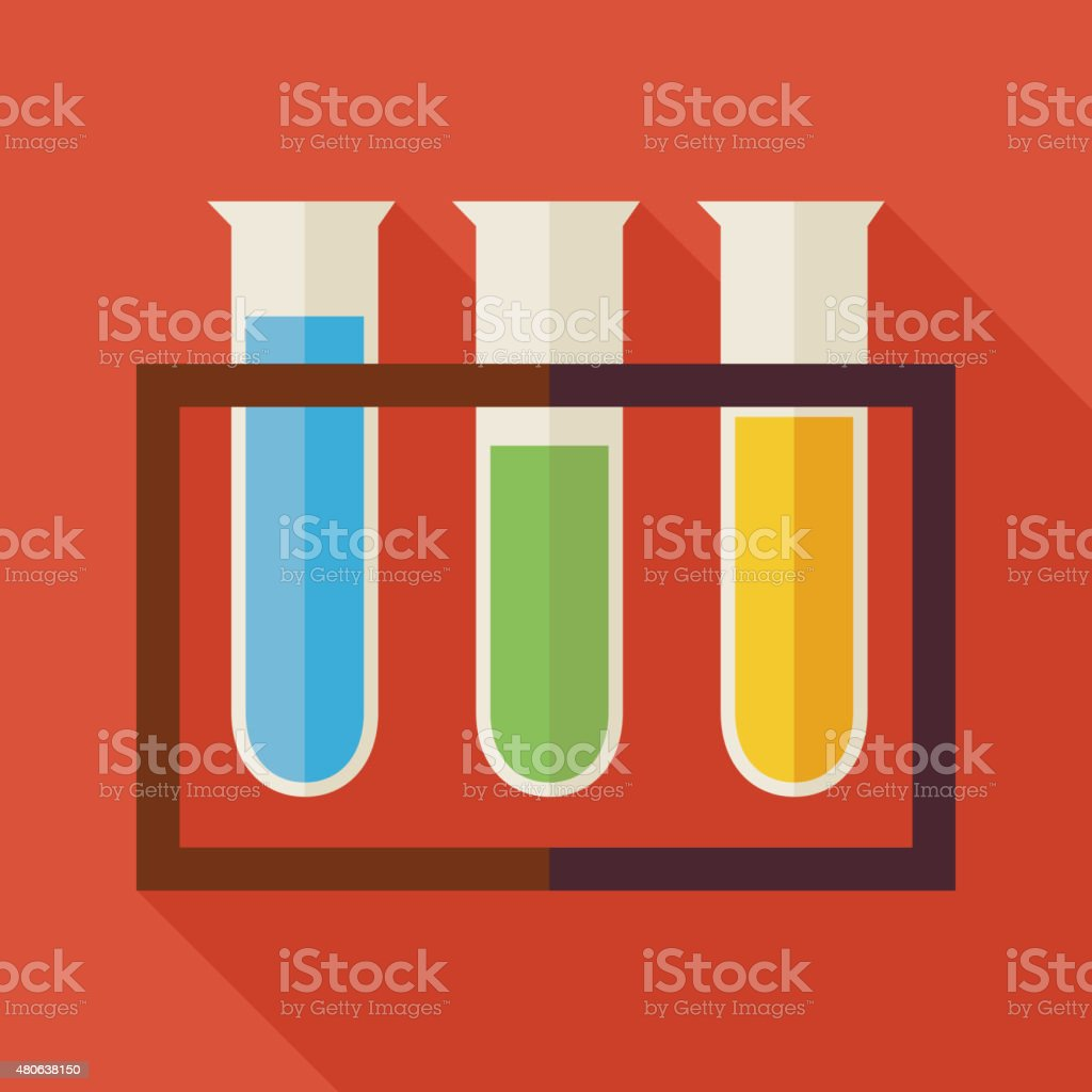 Flat Education and Science Chemistry Glass Bulb Illustration wit vector art illustration