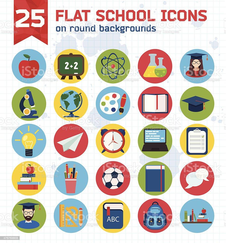 Flat education icons set vector art illustration