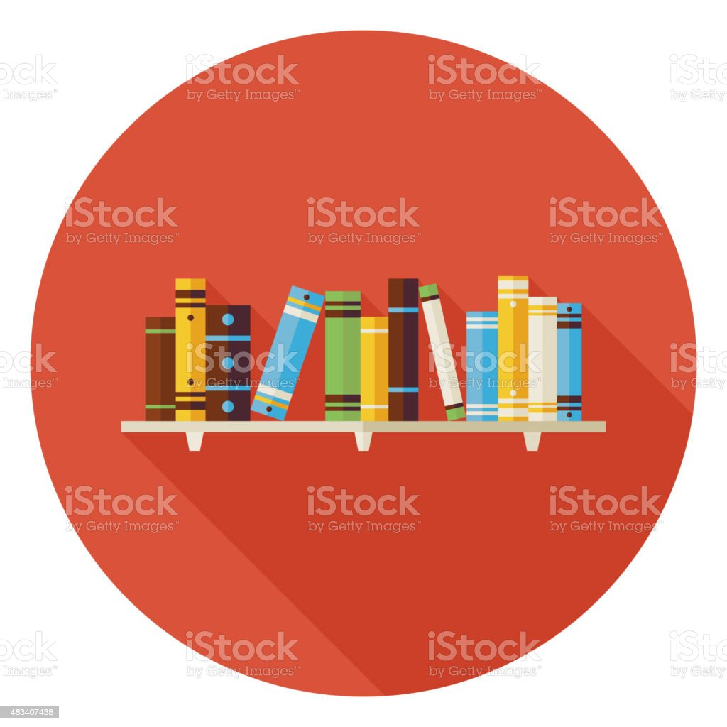 Flat Education Reading Books with Bookshelf Icon with Long Shado vector art illustration