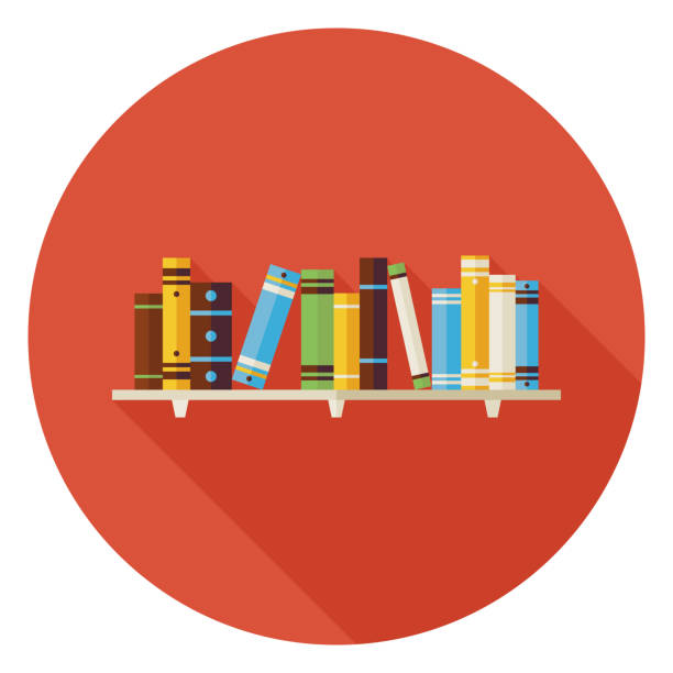Flat Education Reading Books with Bookshelf Icon with Long Shado vector art illustration