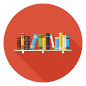 Flat Education Reading Books with Bookshelf Icon with Long Shado