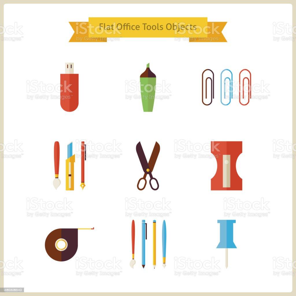 Escuela y educaci n plana de herramientas y objetos de for Herramientas de oficina