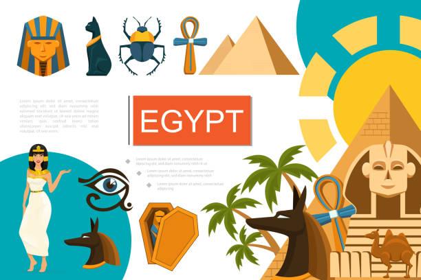 Flache Ägypten Symbole Zusammensetzung – Vektorgrafik