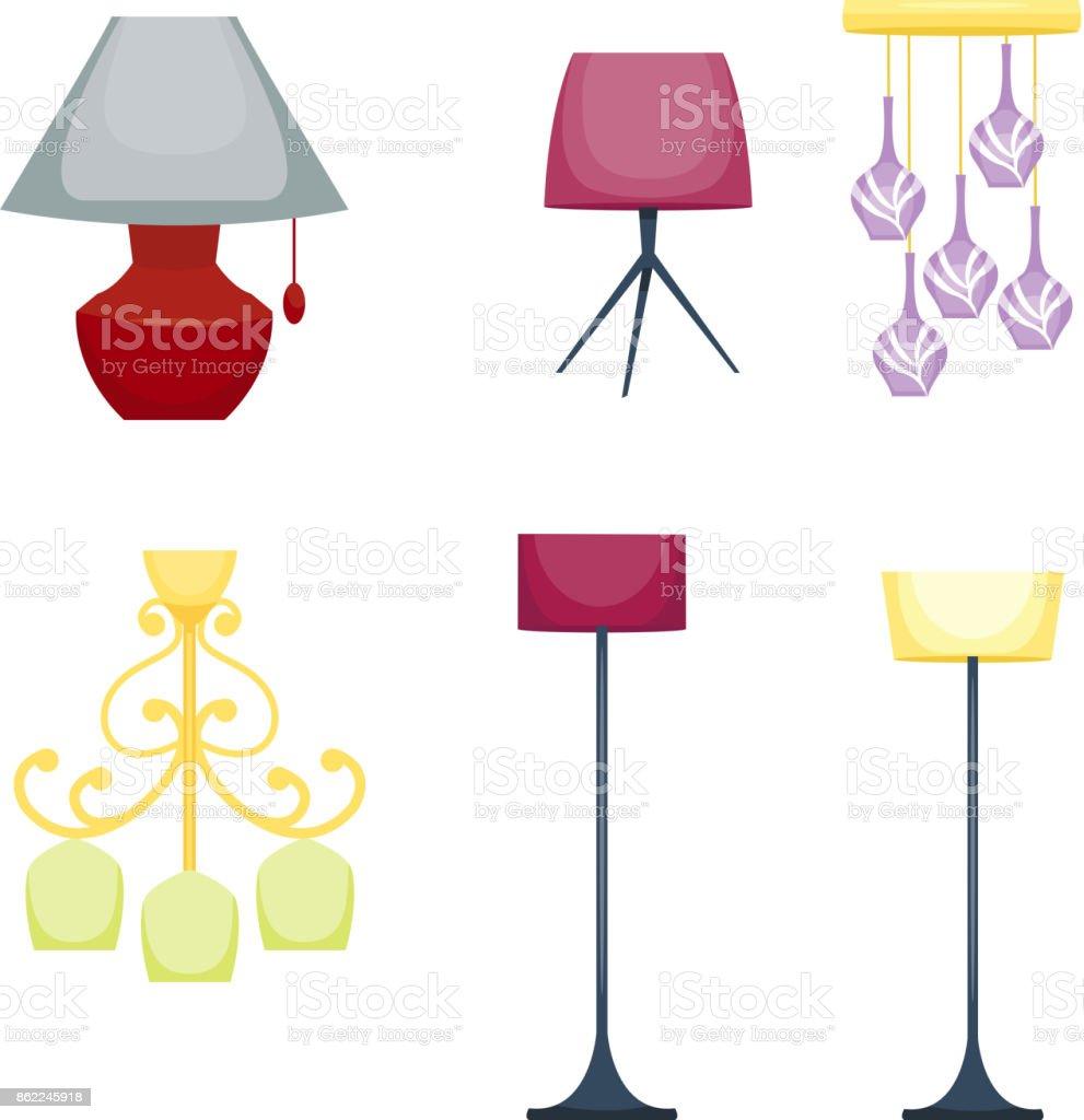 Flat electric lantern lamp lights fitting illuminator technology flat electric lantern lamp lights fitting illuminator technology light bulb electricity vector illustration royalty free arubaitofo Images
