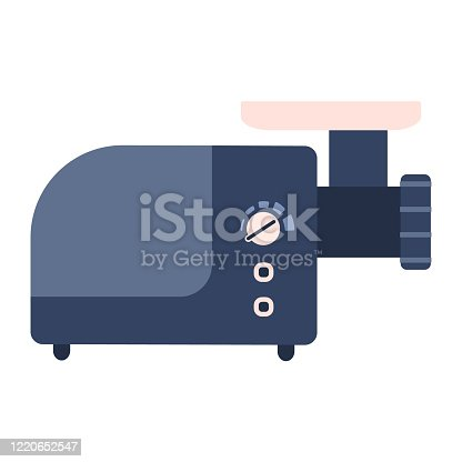 istock Flat electric mincing machine icon, meat grinder 1220652547