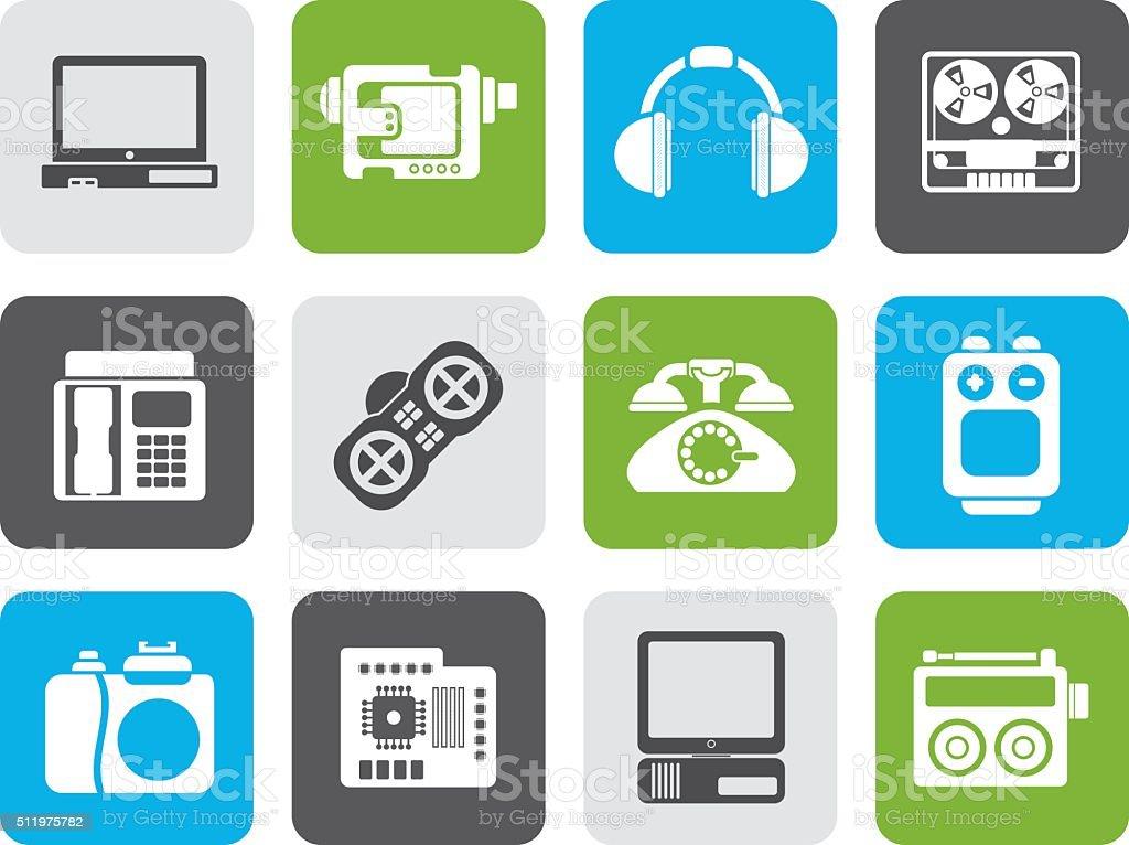 Flache Elektronische Geräte Medien Und Technische Geräte Symbole ...