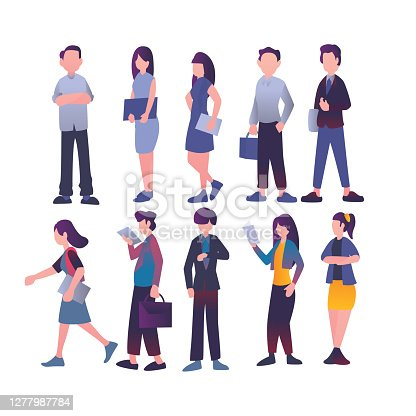 istock Flat element of business man. Flat element of business people or person. Flat element of people isolated on white background. 1277987784