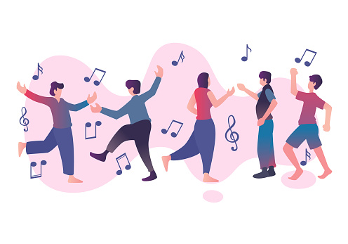 Flat element of dancing people with music note. Flat element of man and woman being dance. Flat element of people isolated on white background.