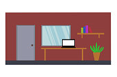 Flat elevation furniture interior room door, window, notebook on table, bookshelf tree pod, inside home or house, illustration vector