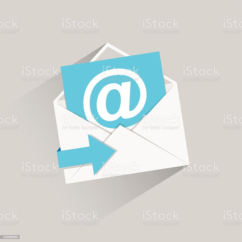 Flat email vector icon with blue arrow and long shadow vector art illustration