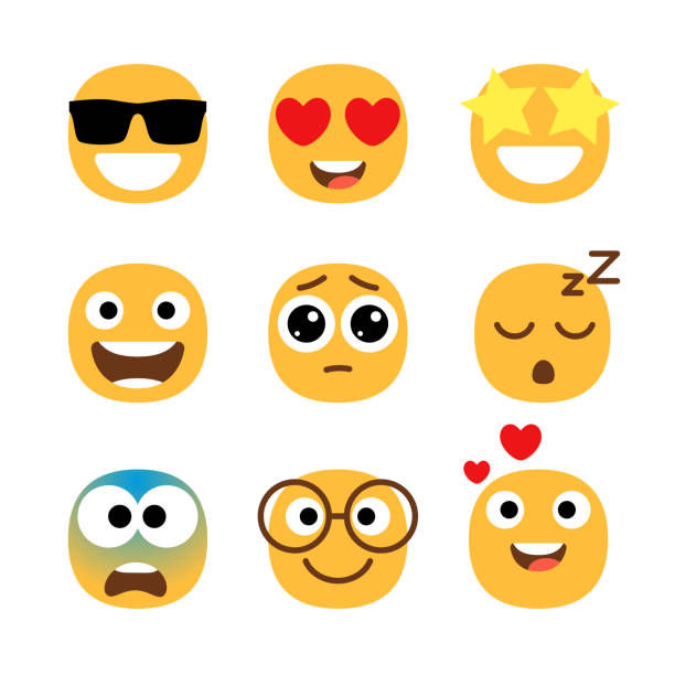 Flat emoticons faces. Simple happy and funny, cartoon smile set, wonder and love with hearts in eyes emoji moods isolated vector illustrations vector art illustration