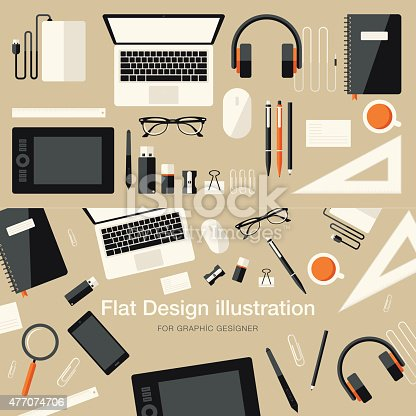 istock Flat Equipments For Graphic Designer 477074706