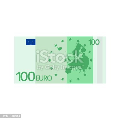 istock Flat euro for paper money. Business concept. 1261310841