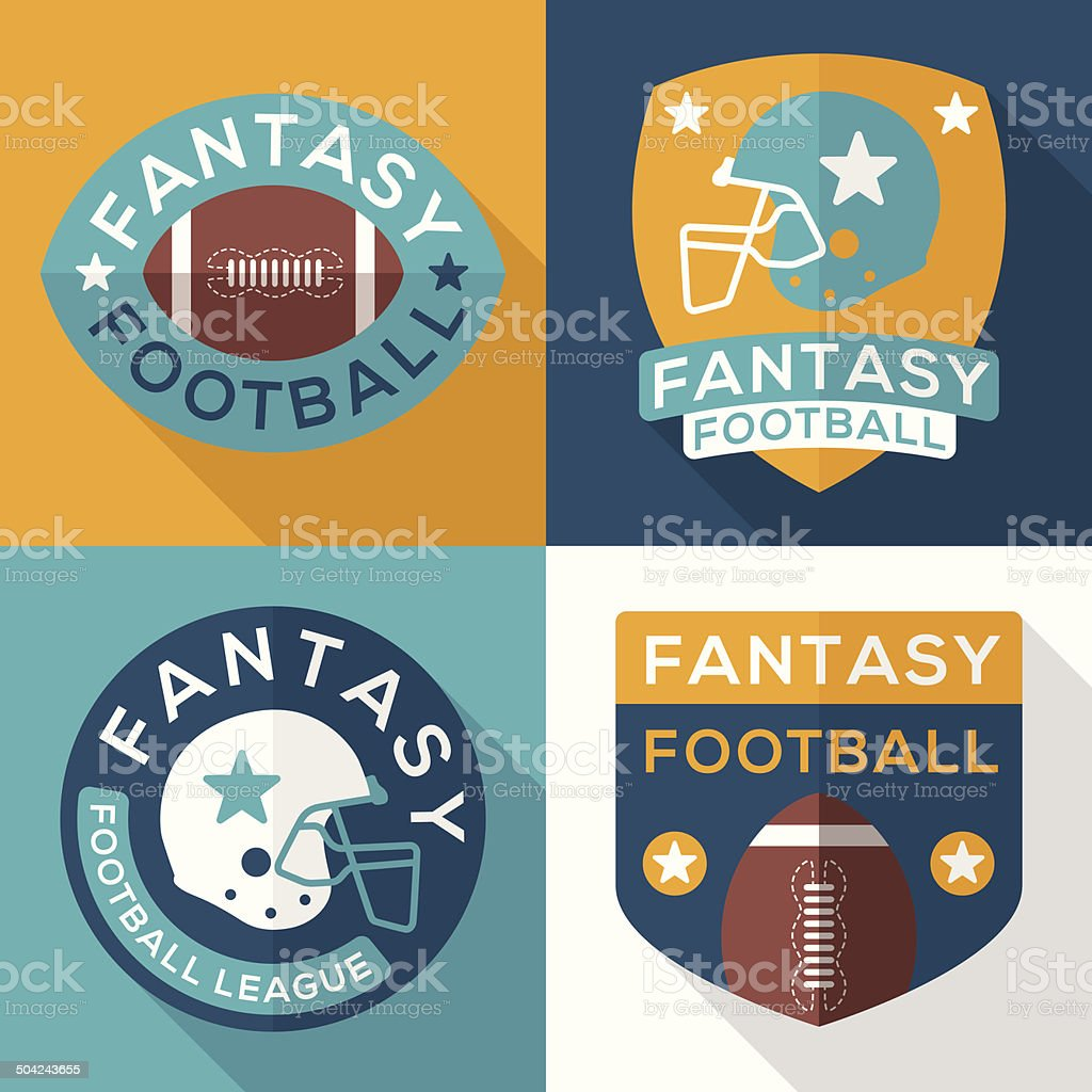 Flat Fantasy Football Symbols vector art illustration