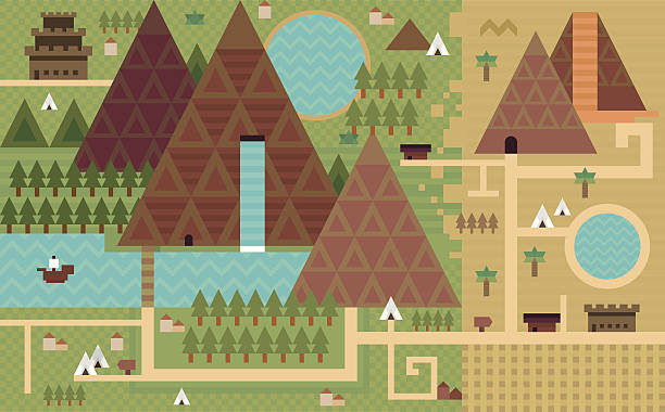 Flat fantasy map vector art illustration