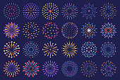 Different colourful fireworks, round explosion lines with stars and sparks isolated decorative vector collection