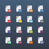 Flat file format icons. Audio, video, image, system, archive and document file types