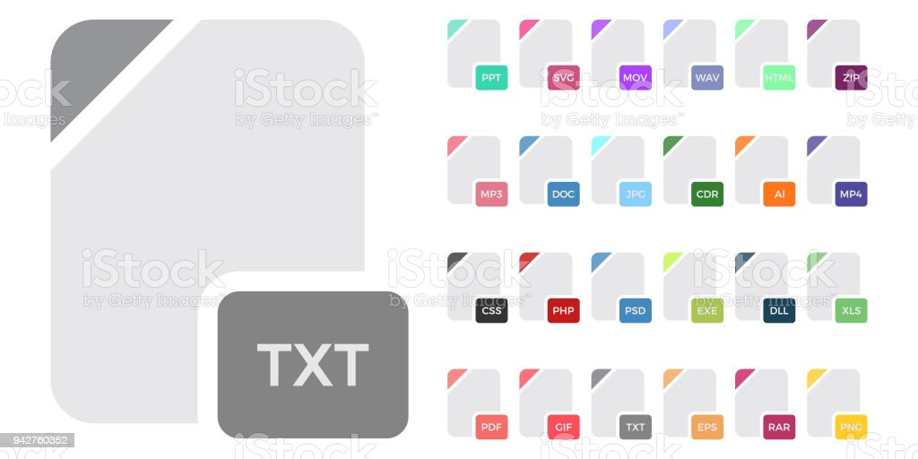 Flat File Format Icons Audio Video Image System Archive Code And