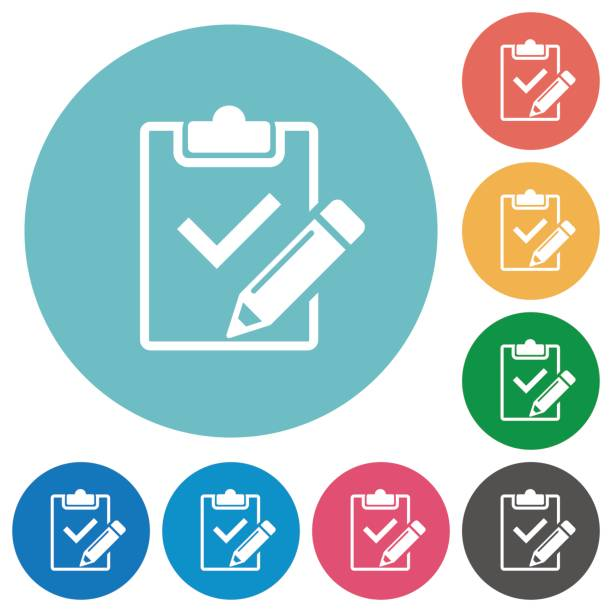 Flat fill out checklist icons vector art illustration