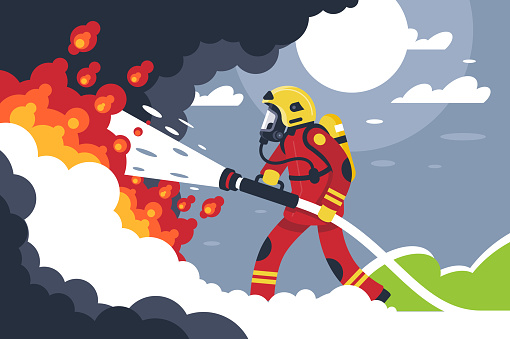 Flat fire fighting man puts out fire.