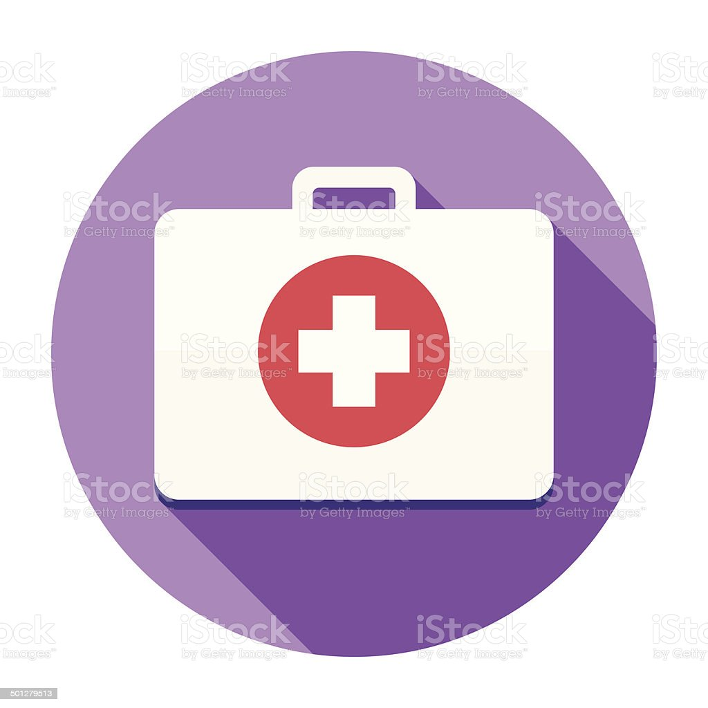 Flat First Aid Kit Icon vector art illustration