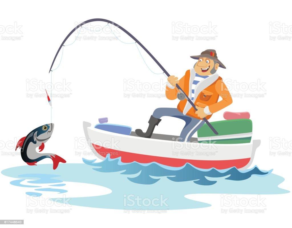 Flache Fischer Hut sitzt auf Boot mit Schleppangeln Angelrute in der hand und Fänge Eimer, Fishman gehäkelt Spin ins Meer warten große Fische lustige Vektor-Illustration, Mann aktiven Banner Konzept – Vektorgrafik
