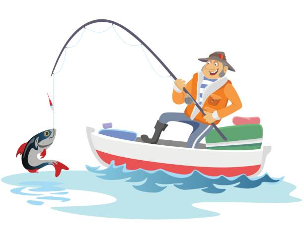 ilustrações de stock, clip art, desenhos animados e ícones de flat fisherman hat sits on boat with trolling fishing rod in hand and catches bucket, fishman crocheted spin into the sea waiting big fish funny vector illustration, man active banner concept - fishman