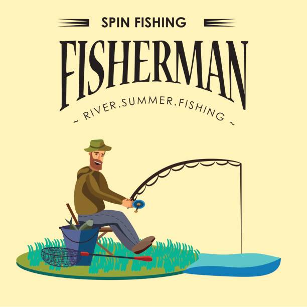 ilustrações de stock, clip art, desenhos animados e ícones de flat fisherman hat sits on shore with fishing rod in hand and catches bucket and net, fishman crocheted spin into the water and waiting big fish funny vector illustration, man active banner concept - fishman