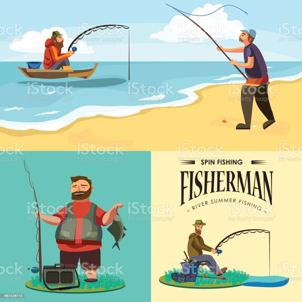 Flat fisherman hat sits on shore with fishing rod in hand and catches bucket and net, Fishman crocheted spin into the water and waiting big fish funny vector illustration, Man active banner concept vector art illustration
