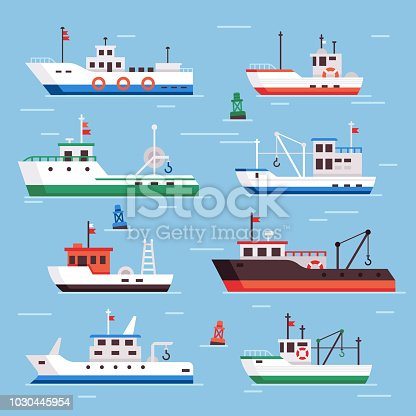 Flat fishing boats. Commercial fishery ships, seafood industry ship and marine fisher boat in harbor on water, fish shipping sea flat vector isolated icons collection