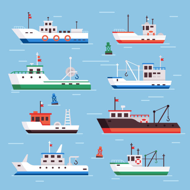 ilustrações de stock, clip art, desenhos animados e ícones de flat fishing boats. commercial fishery ships, seafood industry ship and fisher boat vector collection - fishing boat
