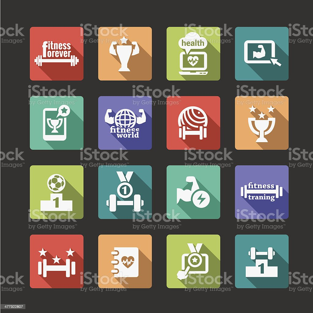 flat fitness and health icons set royalty-free stock vector art