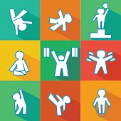 isolated vector flat icon set of fitness - sports logos