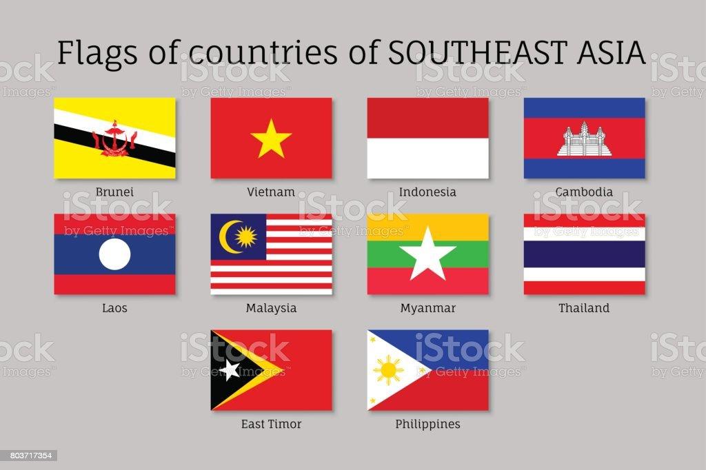 Plat drapeaux des membres de l'AEC - Illustration vectorielle