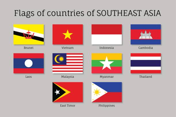 flat flags of aec members - thai flag stock illustrations, clip art, cartoons, & icons